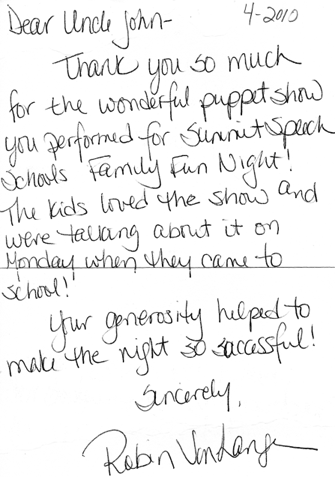 Recent Thank You Notes Uncle John S Puppet Shows